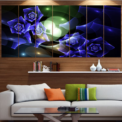 Designart Blue Bouquet Of Beautiful Roses AbstractCanvas Art Print - 7 Panels