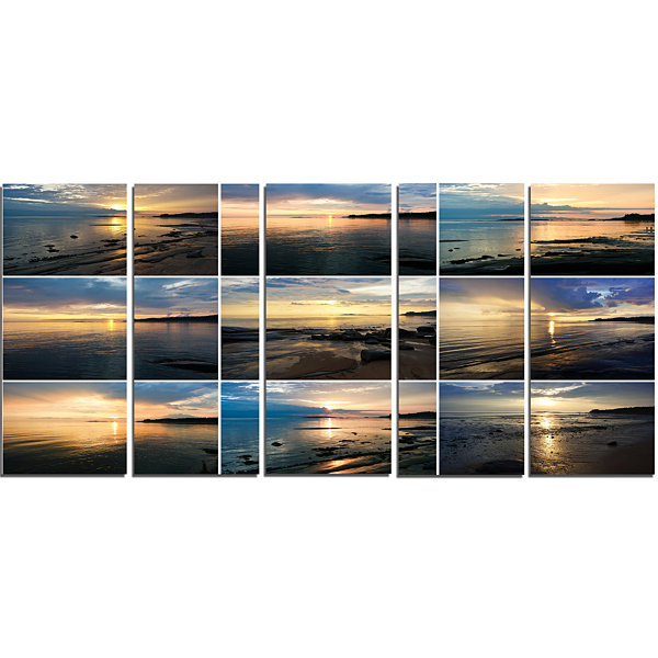 Designart Sea Sunset Collage Landscape Canvas ArtPrint - 5Panels