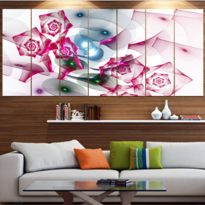 Designart Pink Roses Fractal Design Abstract Canvas Art Print - 4 Panels