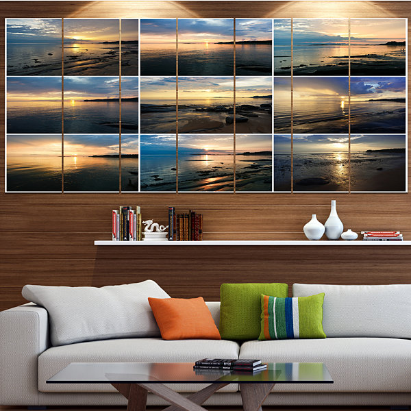 Designart Sea Sunset Collage Landscape Canvas ArtPrint - 6Panels
