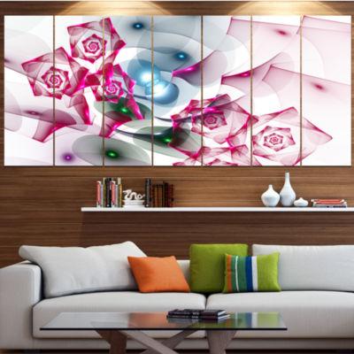 Designart Pink Roses Fractal Design Abstract Canvas Art Print - 6 Panels