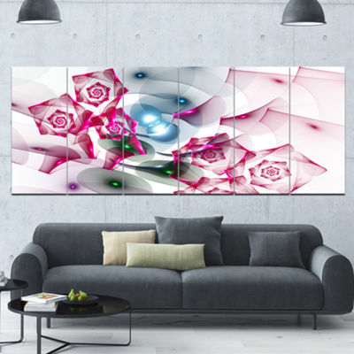 Designart Pink Roses Fractal Design Abstract Canvas Art Print - 6 Panels