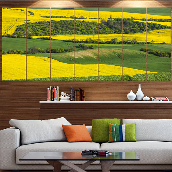Design Art Rapeseed Fields And Green Wheat Landscape Canvas Art Print - 5 Panels