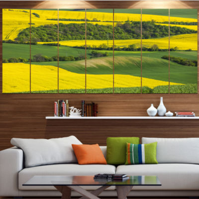 Design Art Rapeseed Fields And Green Wheat Landscape Canvas Art Print - 6 Panels