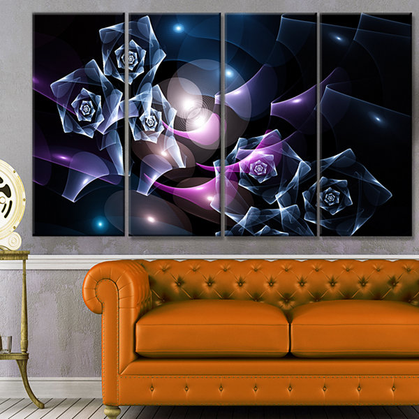 Designart Glowing Bouquet Of Beautiful Roses Abstract Canvas Art Print - 4 Panels
