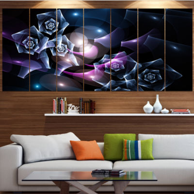 Designart Glowing Bouquet Of Beautiful Roses Abstract Canvas Art Print - 6 Panels