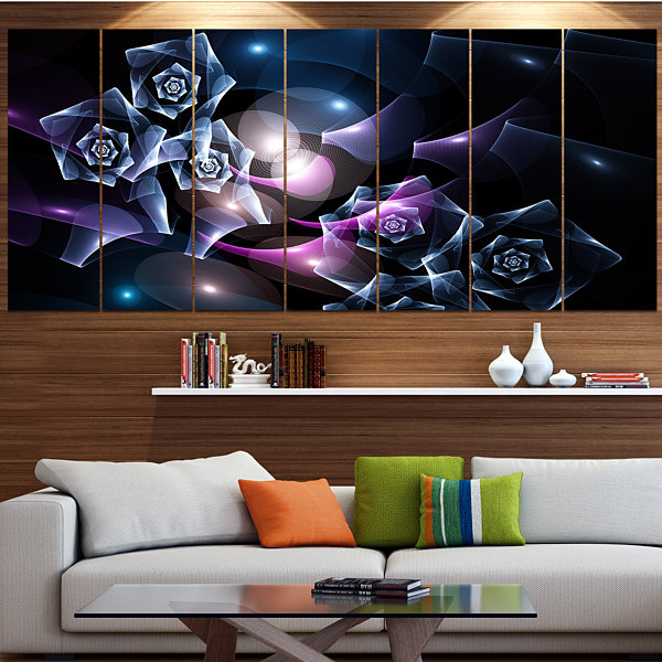 Designart Glowing Bouquet Of Beautiful Roses Abstract Canvas Art Print - 7 Panels