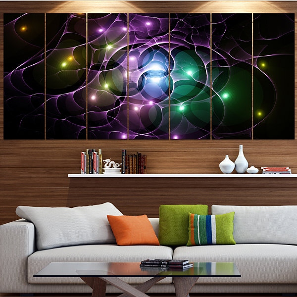 Designart Multi Color Fractal Space Circles Abstract Canvas Art Print - 4 Panels