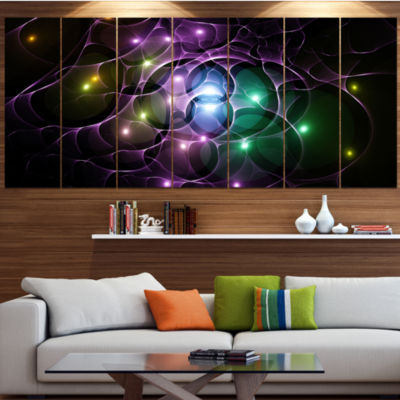 Designart Multi Color Fractal Space Circles Contemporary Canvas Art Print - 5 Panels