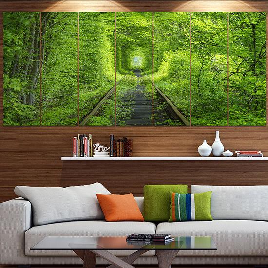 Designart Forest Around Rail Way Tunnel LandscapeCanvas Art Print - 4 Panels