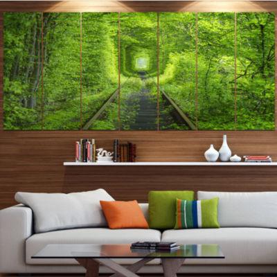Designart Forest Around Rail Way Tunnel LandscapeLarge Canvas Art Print - 5 Panels