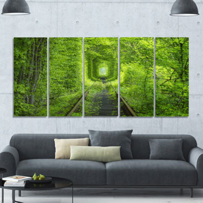 Designart Forest Around Rail Way Tunnel LandscapeCanvas Art Print - 5 Panels