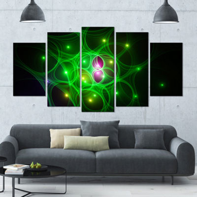 Designart Green Fractal Space Circles ContemporaryCanvas Art Print - 5 Panels