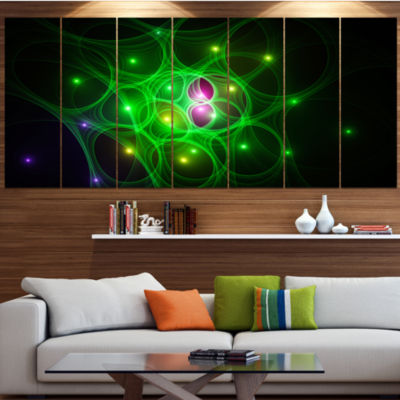 Designart Green Fractal Space Circles Abstract Canvas Art Print - 5 Panels