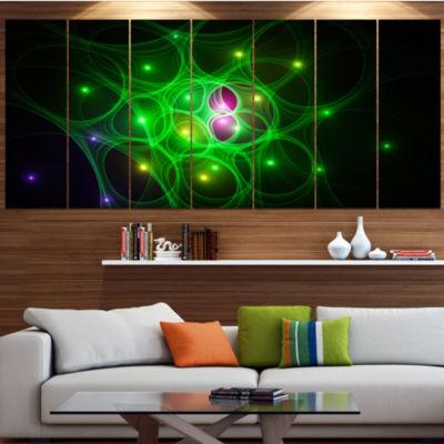 Green Fractal Space Circles Abstract Canvas Art Print - 5 Panels
