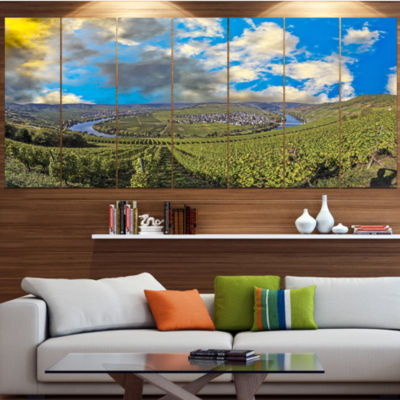 Designart Moselle River Loop In Trittenheim Landscape Canvas Art Print - 5 Panels