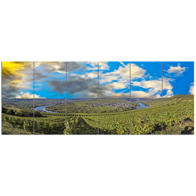 Designart Moselle River Loop In Trittenheim Landscape Canvas Art Print - 6 Panels