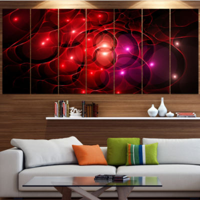 Designart Red Fractal Space Circles Abstract Canvas Art Print - 4 Panels