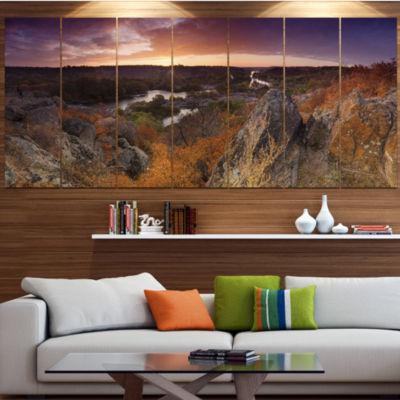 Designart Rural Autumn Sunset Panorama LandscapeCanvas Art Print - 5 Panels