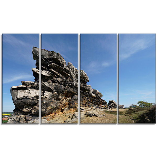 Design Art Devil S Wall At Weddersleben LandscapeCanvas Art Print - 4 Panels