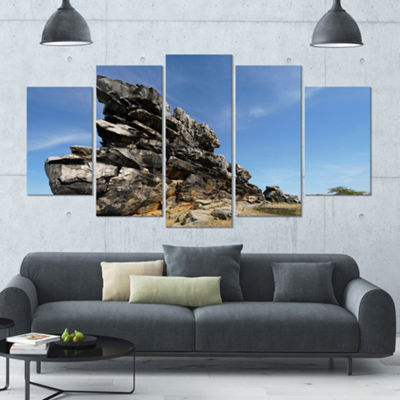 Designart Devil S Wall At Weddersleben LandscapeCanvas Art Print - 5 Panels