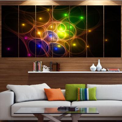 Designart Yellow Fractal Space Circles Abstract Canvas Art Print - 5 Panels