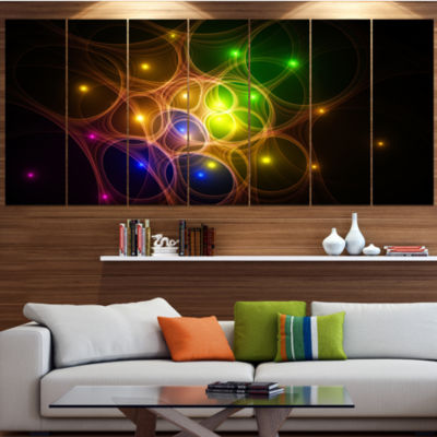 Designart Yellow Fractal Space Circles Abstract Canvas Art Print - 6 Panels