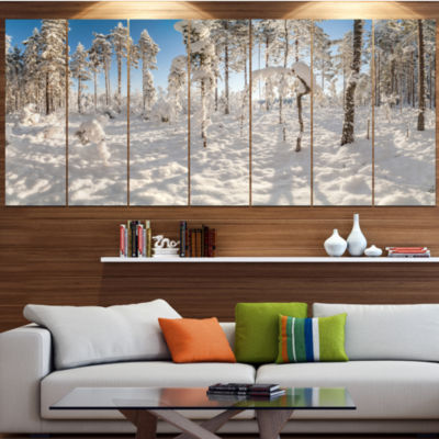Designart Winter Snow Covered Wood Landscape LargeCanvas Art Print - 5 Panels