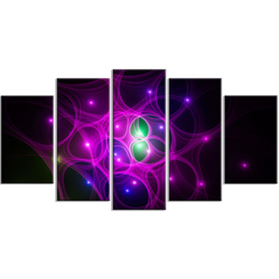 Designart Pink Fractal Space Circles ContemporaryCanvas Art Print - 5 Panels