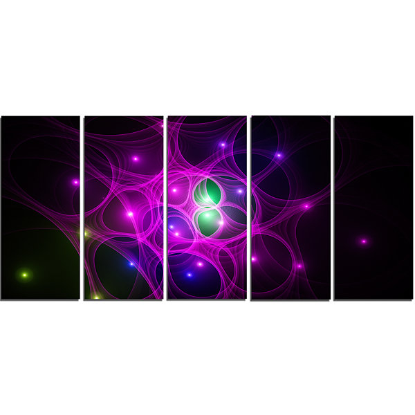 Designart Pink Fractal Space Circles Abstract Canvas Art Print - 5 Panels