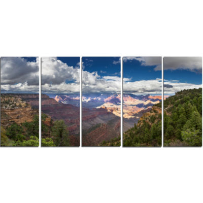 Us Grand Canyon In Colorado River Landscape CanvasArt Print - 5 Panels