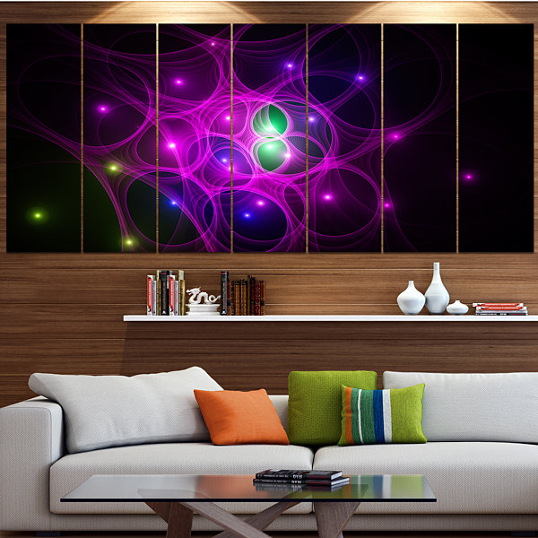 Design Art Pink Fractal Space Circles Abstract Canvas Art Print - 7 Panels