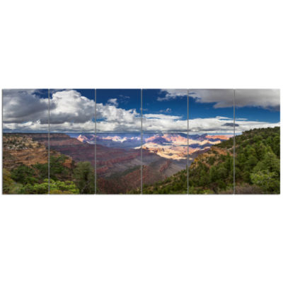 Us Grand Canyon In Colorado River Landscape CanvasArt Print - 6 Panels