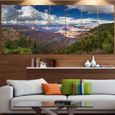 Designart Us Grand Canyon In Colorado River Landscape Canvas Art Print - 7 Panels