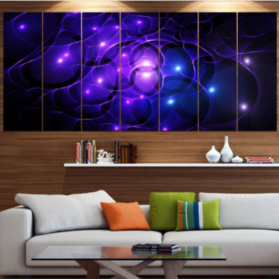 Designart Blue Fractal Space Circles Abstract Canvas Art Print - 5 Panels