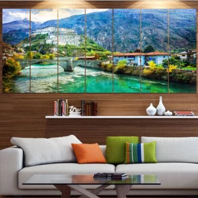 Designart Valle D Aosta Castles Italy Landscape Large Canvas Art Print - 5 Panels