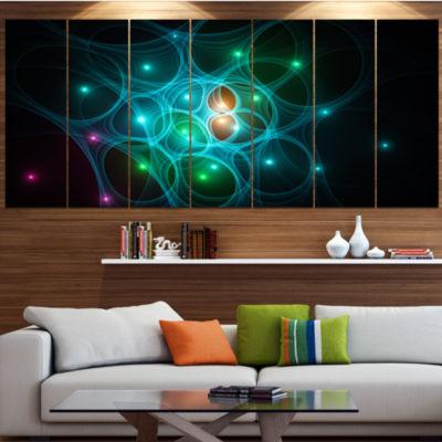 Designart Light Blue Fractal Space Circles Abstract Canvas Art Print - 4 Panels