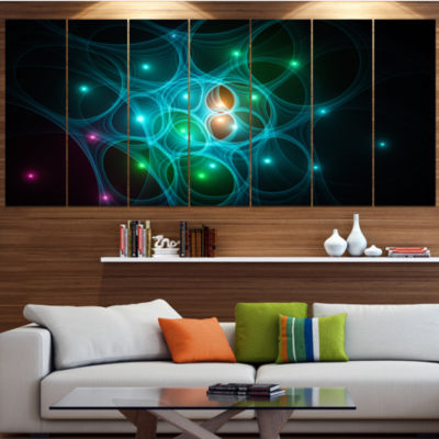 Light Blue Fractal Space Circles Contemporary Canvas Art Print - 5 Panels