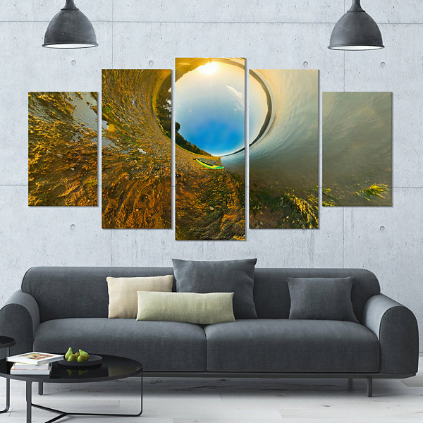 Designart Kayak In River Little Planet LandscapeLarge Canvas Art Print - 5 Panels