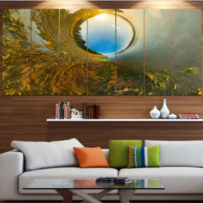 Designart Kayak In River Little Planet LandscapeCanvas Art Print - 6 Panels