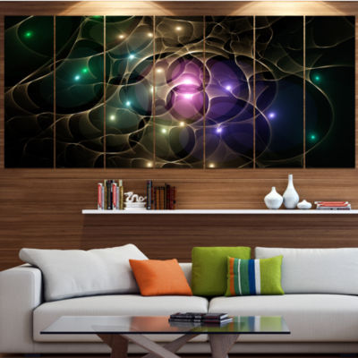 Myriad Of Colored Space Circles Abstract Canvas Art Print - 4 Panels