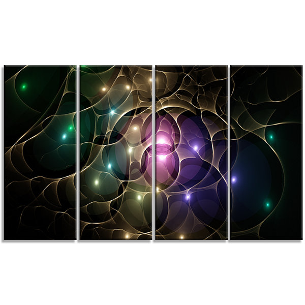 Designart Myriad Of Colored Space Circles AbstractCanvas Art Print - 4 Panels