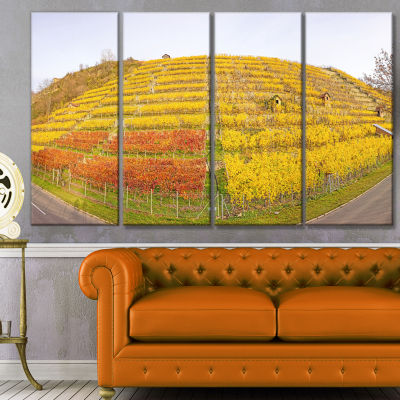 Vineyard Panorama In Autumn Landscape Canvas Art Print - 4 Panels