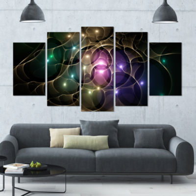 Myriad Of Colored Space Circles Contemporary Canvas Art Print - 5 Panels