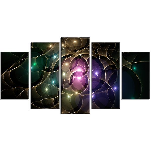 Designart Myriad Of Colored Space Circles Contemporary Canvas Art Print - 5 Panels