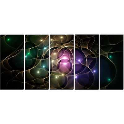 Designart Myriad Of Colored Space Circles AbstractCanvas Art Print - 5 Panels