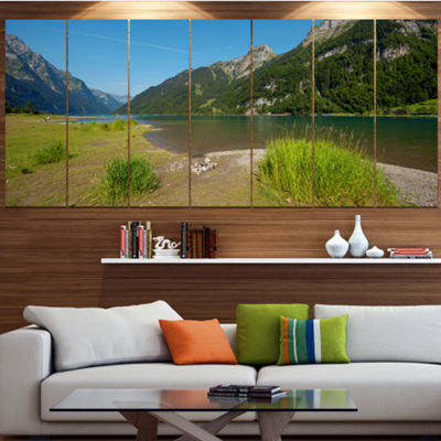 Designart Green Mountain Landscape View LandscapeLarge Canvas Art Print - 5 Panels