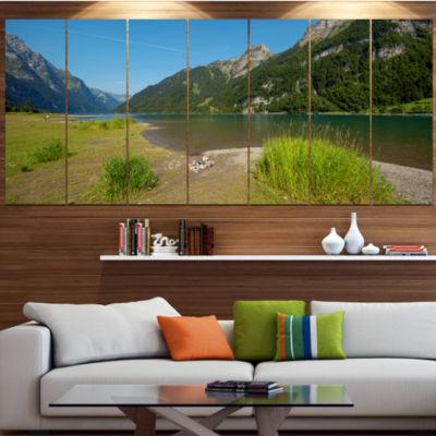 Design Art Green Mountain Landscape View LandscapeCanvas Art Print - 5 Panels