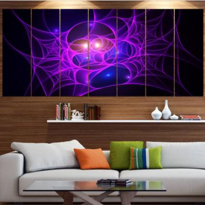 Bright Purple Fractal Cobweb Abstract Canvas Art Print - 4 Panels
