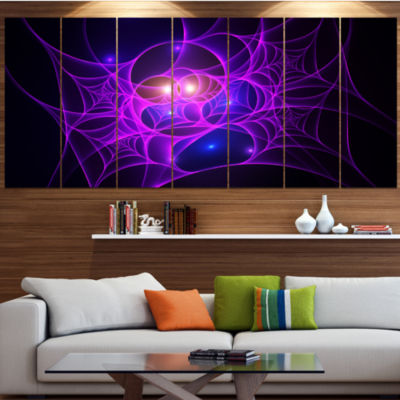 Bright Purple Fractal Cobweb Abstract Canvas Art Print - 6 Panels